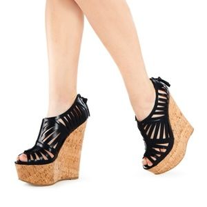 JustFab Bryony Caged Cut-out Stacked Wedge 8.5